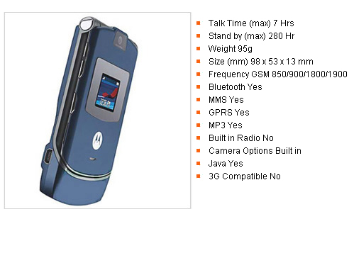 Unlocked Motorola V3 Blue Full